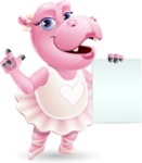 Dancing Hippo Cartoon Character AKA Hippo Ballerina - with a Blank paper