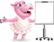 Dancing Hippo Cartoon Character AKA Hippo Ballerina - with a Blank Presentation board