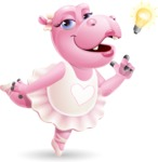 Dancing Hippo Cartoon Character AKA Hippo Ballerina - with a Light bulb
