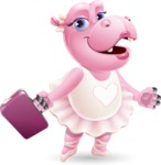Dancing Hippo Cartoon Character AKA Hippo Ballerina - with Briefcase