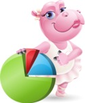 Dancing Hippo Cartoon Character AKA Hippo Ballerina - with Business graph