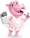 Dancing Hippo Cartoon Character AKA Hippo Ballerina - with Calculator