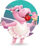 Dancing Hippo Cartoon Character AKA Hippo Ballerina - With Circle Backgound