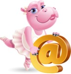 Dancing Hippo Cartoon Character AKA Hippo Ballerina - with Email sign