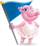 Dancing Hippo Cartoon Character AKA Hippo Ballerina - with Flag