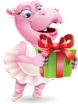 Dancing Hippo Cartoon Character AKA Hippo Ballerina - with Gift box