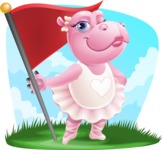 Dancing Hippo Cartoon Character AKA Hippo Ballerina - With Landscape Background
