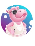 Dancing Hippo Cartoon Character AKA Hippo Ballerina - With Modern Background