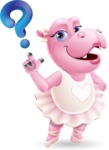 Dancing Hippo Cartoon Character AKA Hippo Ballerina - with Question mark