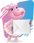 Dancing Hippo Cartoon Character AKA Hippo Ballerina - With Rectangle Background