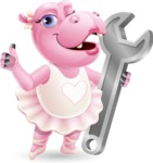 Dancing Hippo Cartoon Character AKA Hippo Ballerina - with Repairing tool - wrench