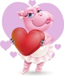 Dancing Hippo Cartoon Character AKA Hippo Ballerina - With Romantic Background
