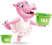 Dancing Hippo Cartoon Character AKA Hippo Ballerina - with Sale boxes