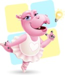 Dancing Hippo Cartoon Character AKA Hippo Ballerina - With Shapes Background
