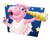 Dancing Hippo Cartoon Character AKA Hippo Ballerina - With Stars Background
