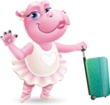 Dancing Hippo Cartoon Character AKA Hippo Ballerina - with Suitcase