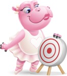 Dancing Hippo Cartoon Character AKA Hippo Ballerina - with Target