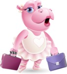 Dancing Hippo Cartoon Character AKA Hippo Ballerina - with Two briefcases
