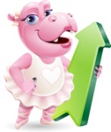 Dancing Hippo Cartoon Character AKA Hippo Ballerina - with Up arrow