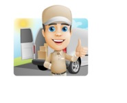 Parcel Delivery Person Cartoon Vector Character AKA Hyuk Dependable - Shape 1