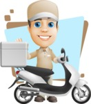Parcel Delivery Person Cartoon Vector Character AKA Hyuk Dependable - Shape 5