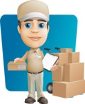 Parcel Delivery Person Cartoon Vector Character AKA Hyuk Dependable - Shape 6