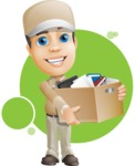 Parcel Delivery Person Cartoon Vector Character AKA Hyuk Dependable - Shape 8