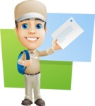 Parcel Delivery Person Cartoon Vector Character AKA Hyuk Dependable - Shape 10