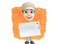 Parcel Delivery Person Cartoon Vector Character AKA Hyuk Dependable - Shape 12