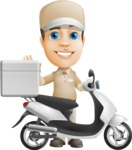 Parcel Delivery Person Cartoon Vector Character AKA Hyuk Dependable - Scooter