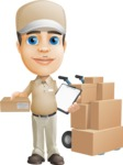 Parcel Delivery Person Cartoon Vector Character AKA Hyuk Dependable - Box Delivery 10