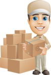 Parcel Delivery Person Cartoon Vector Character AKA Hyuk Dependable - Box Delivery 11