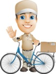 Parcel Delivery Person Cartoon Vector Character AKA Hyuk Dependable - Bike Delivery