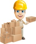 Parcel Delivery Person Cartoon Vector Character AKA Hyuk Dependable - Construction