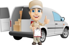 Parcel Delivery Person Cartoon Vector Character AKA Hyuk Dependable - Delivery Car