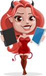 Cute Devil Girl Vector Cartoon Character AKA Sophia - Book or Tablet