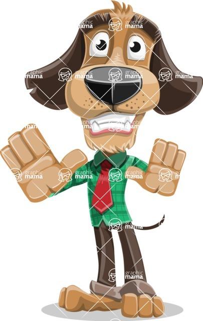 Business Dog Cartoon Vector Character AKA Donny - Stop 2