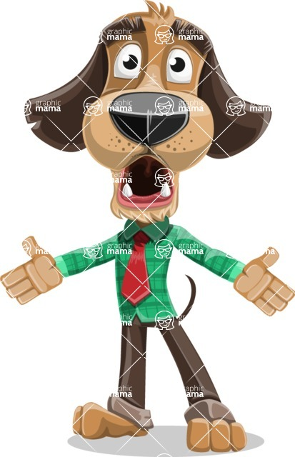 Business Dog Cartoon Vector Character AKA Donny - Stunned