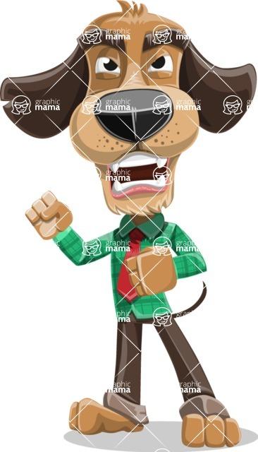 Business Dog Cartoon Vector Character AKA Donny - Angry