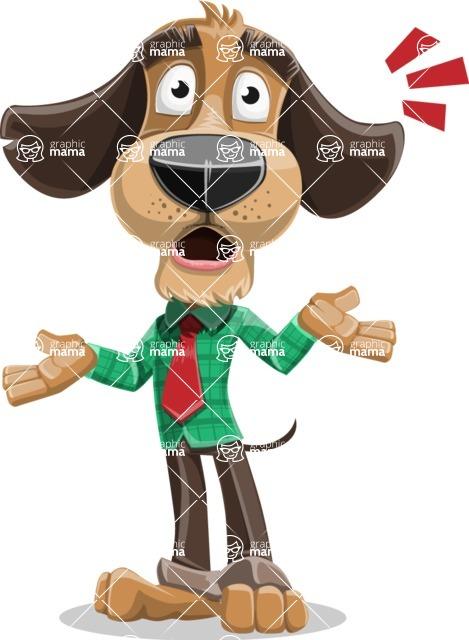 Business Dog Cartoon Vector Character AKA Donny - Shocked