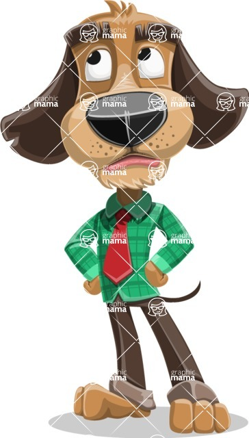Business Dog Cartoon Vector Character AKA Donny - Roll Eyes