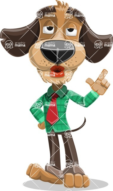 Business Dog Cartoon Vector Character AKA Donny - Silly Face