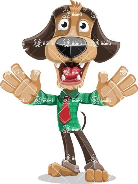 Business Dog Cartoon Vector Character AKA Donny - Hello