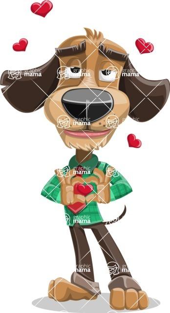 Business Dog Cartoon Vector Character AKA Donny - Show Love
