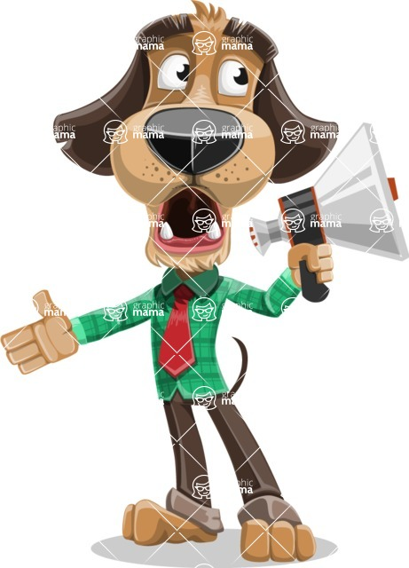Business Dog Cartoon Vector Character AKA Donny - Loudspeaker