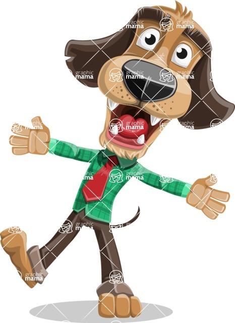 Business Dog Cartoon Vector Character AKA Donny - Wave