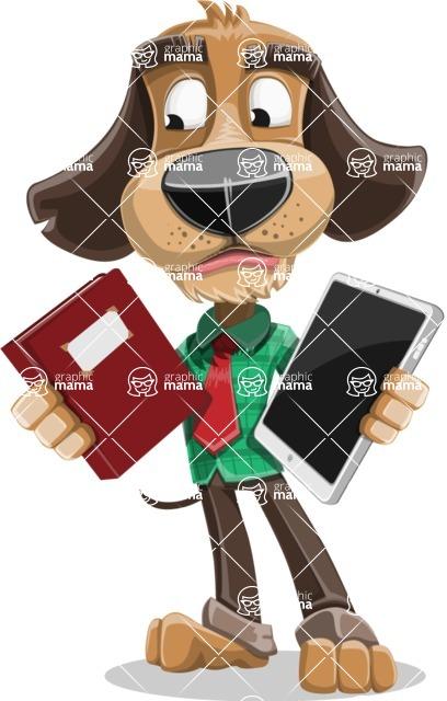 Business Dog Cartoon Vector Character AKA Donny - Book and iPad