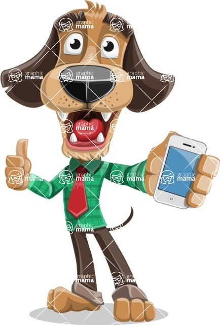 Business Dog Cartoon Vector Character AKA Donny - iPhone