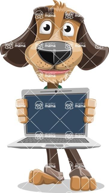 Business Dog Cartoon Vector Character AKA Donny - Laptop 2