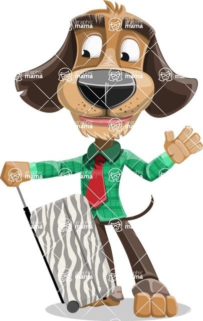 Business Dog Cartoon Vector Character AKA Donny - Travel 1